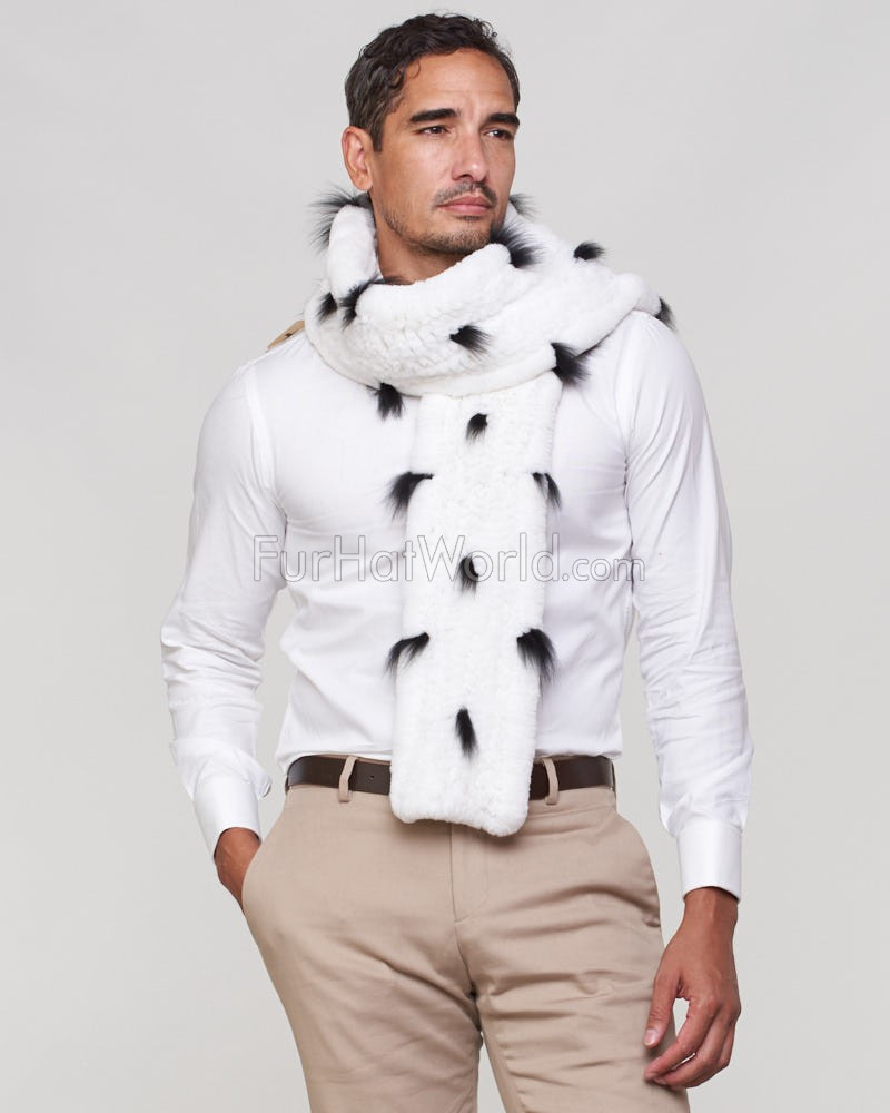 Julian Rex Rabbit Fur Scarf with Fox Fur Tufts