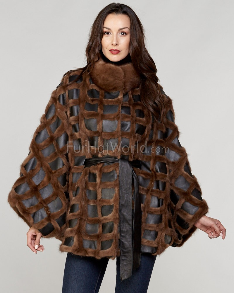 Juliette Long Hair Mink Fur Poncho with Leather Trim