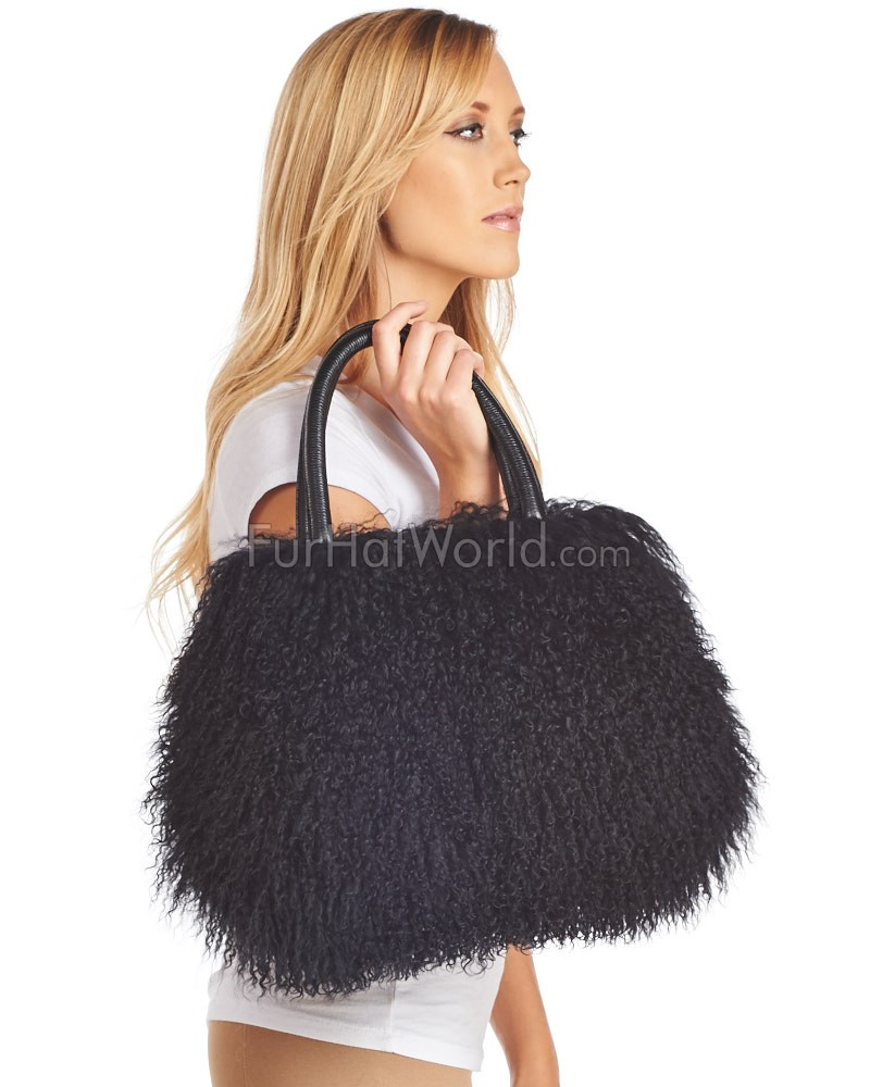 Kelsey Black Mongolian Lamb Fur Handbag  FurHatWorld.com 3e7990a08
