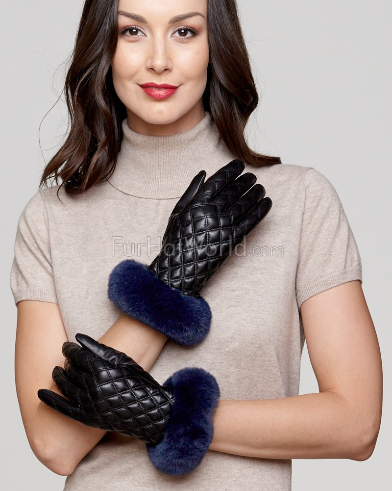 Kenora Diamond Quilt Leather Glove with Navy Rex Rabbit Cuff