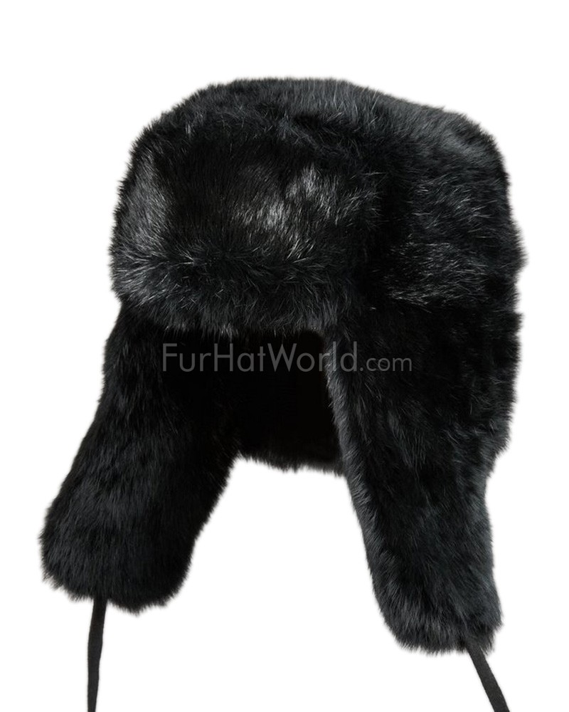 Kids Rabbit Full Fur Russian Ushanka Hat - Black