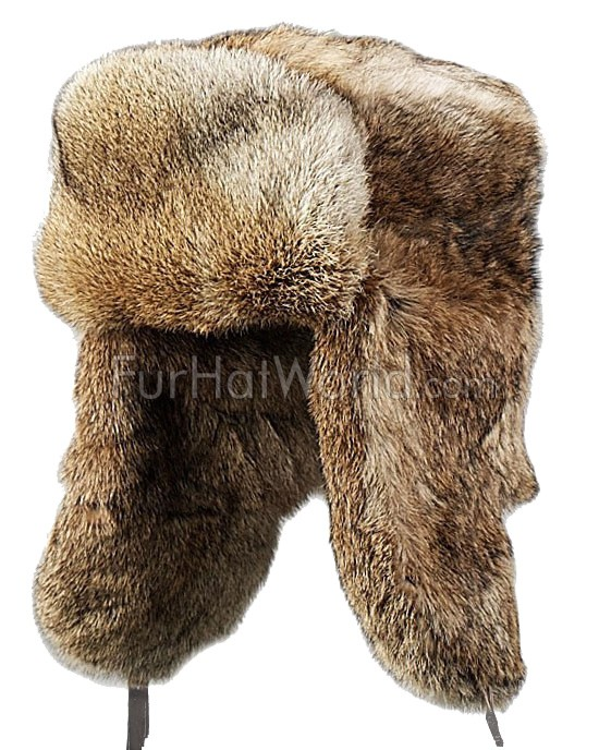 Kids Rabbit Full Fur Russian Ushanka Hat - Brown