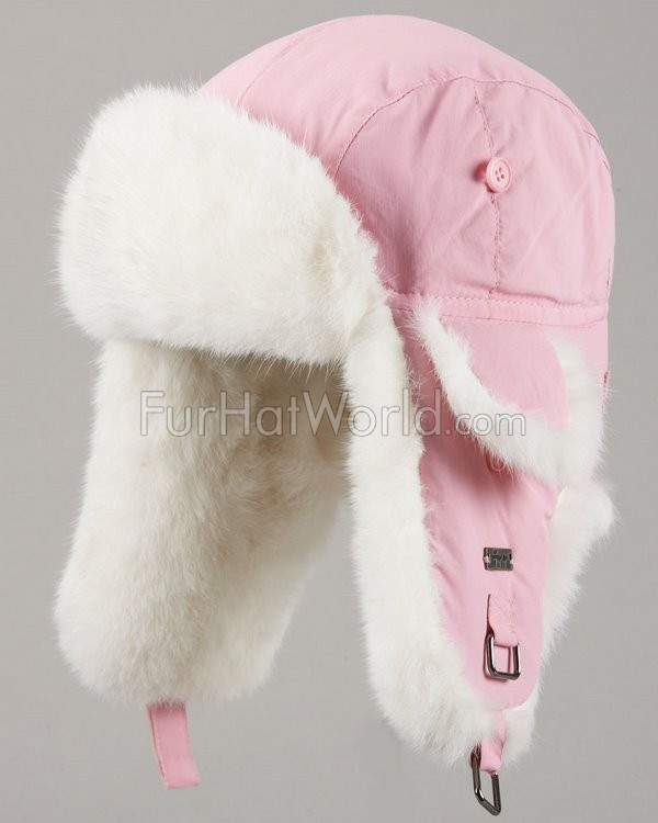 Kids Pink with White Rabbit Fur Rabbit Fur Aviator Hat