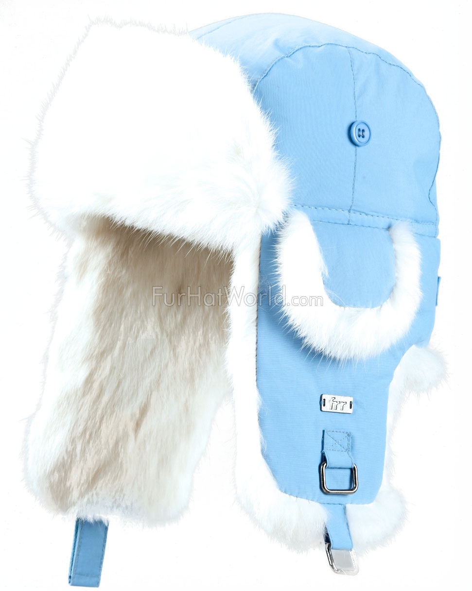 Kids Rabbit Fur Aviator Hat - Blue with White Rabbit Fur