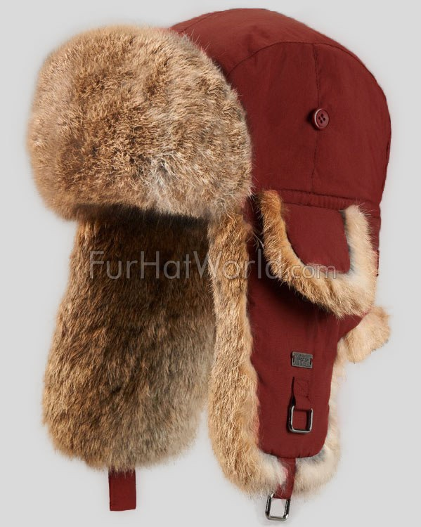 Kids Rabbit Fur Aviator Hat - Cherry