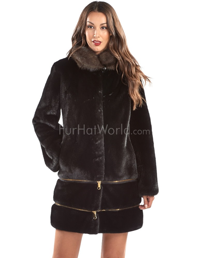 Kimber Mink Fur Zip Off Coat with Sable Collar
