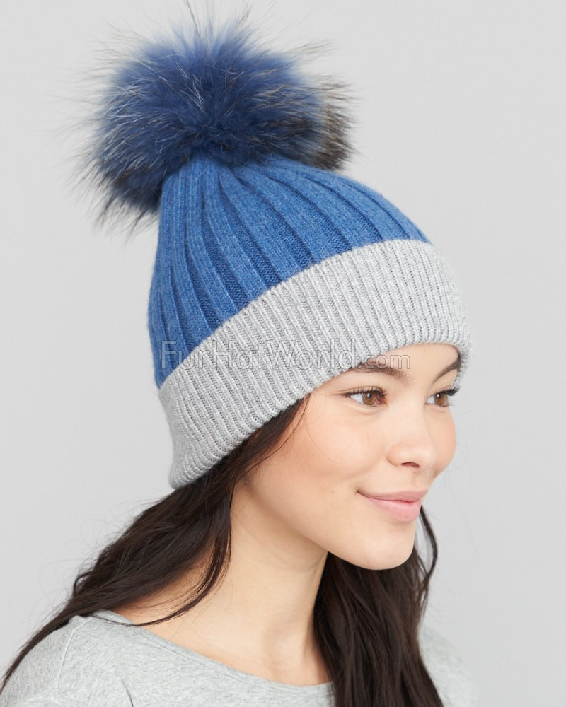 Kinley Knit Beanie Hat with Finn Raccoon Pom Pom in Blue/Grey