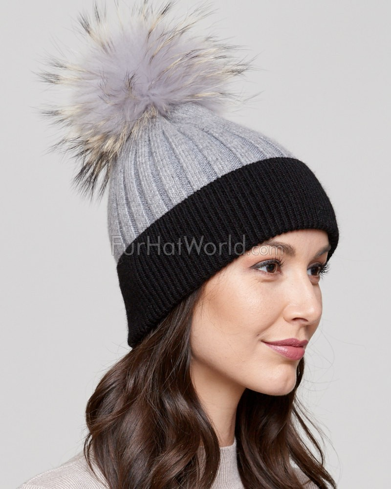Kinley Knit Beanie Hat with Finn Raccoon Pom Pom in Grey/Black