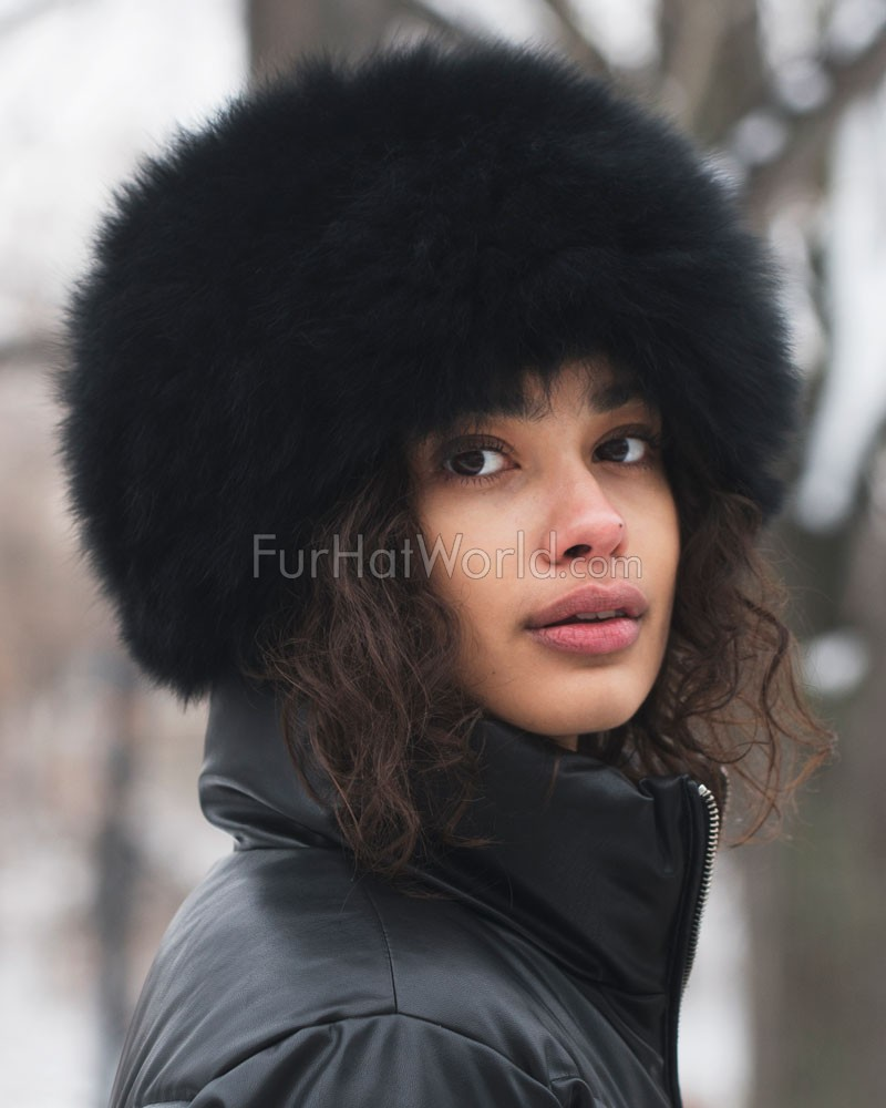 Knit Fox Fur Hat - Black