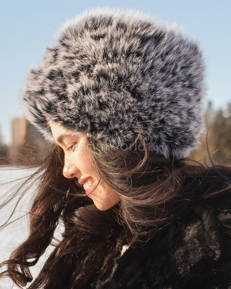 Knit Fox Fur Hat - Black Frost