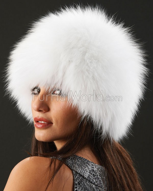 Knit Fox Fur Hat - White