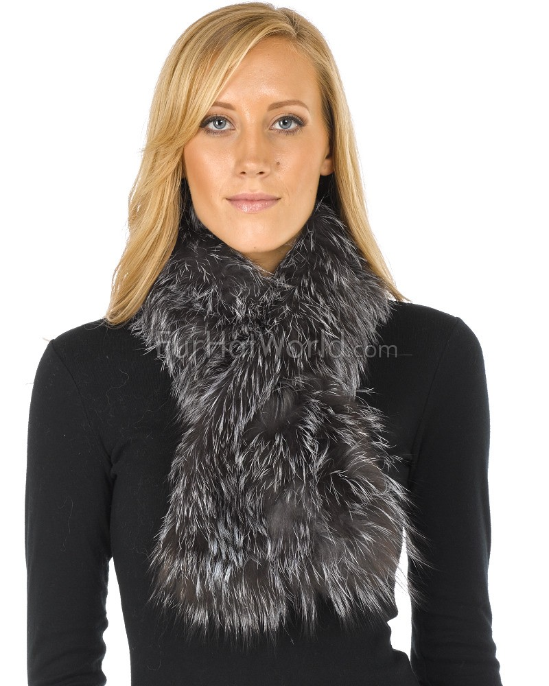 Knit Fox Fur Pull Through Scarf - Silver Indigo
