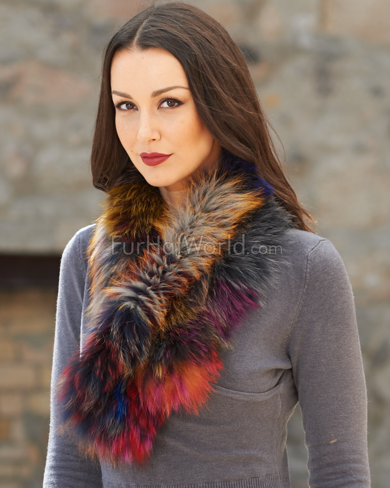 Teresa Knit Fox Fur Pull Through Scarf in Multi Color