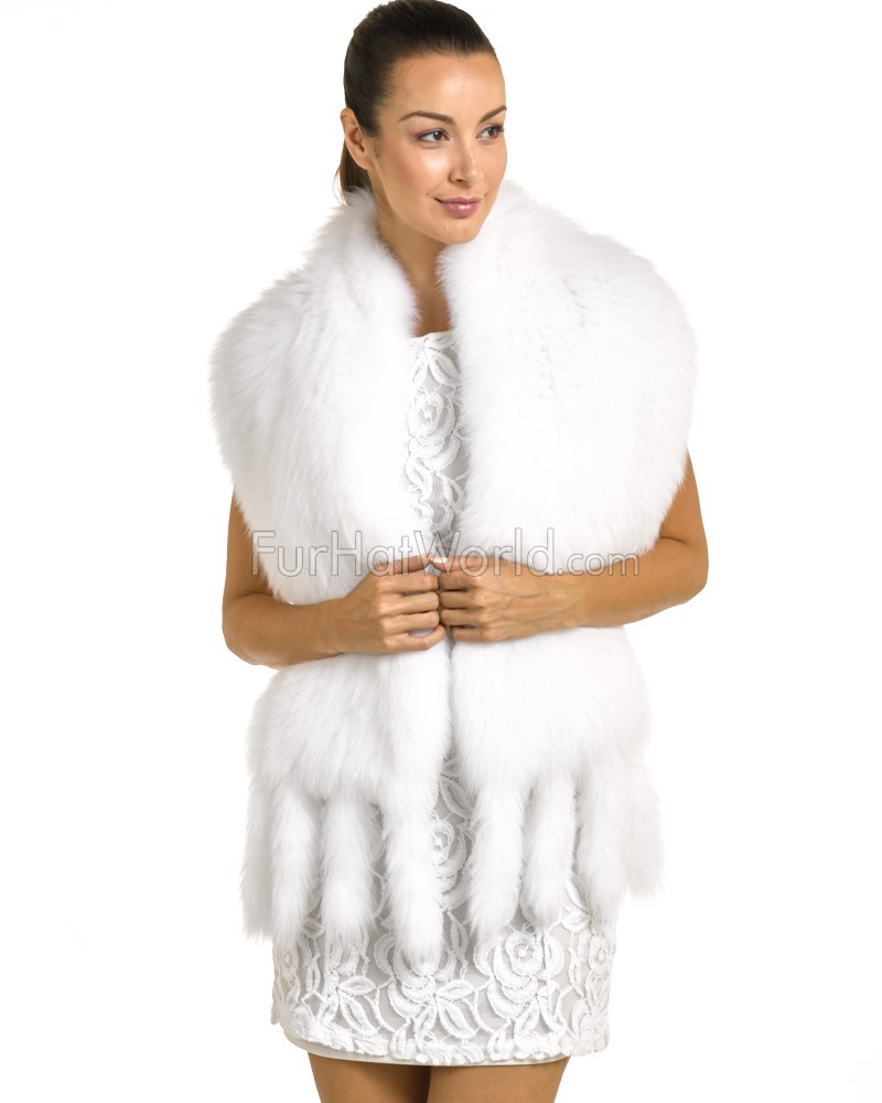 Knit Fox Fur Scarf Shawl - White
