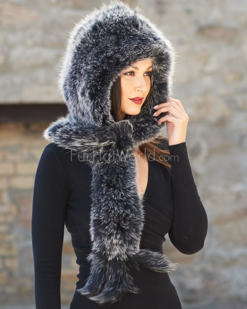 Knit Fox Fur Scarf with Hood - Black Frost