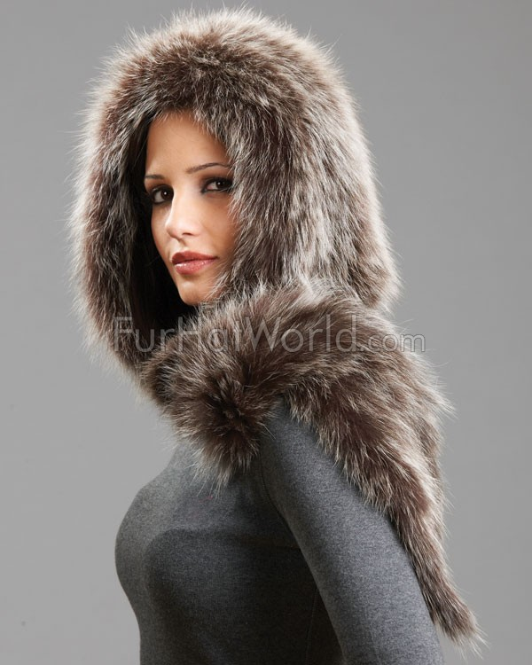 Stacy Brown Frost Knit Fox Fur Scarf with Hood