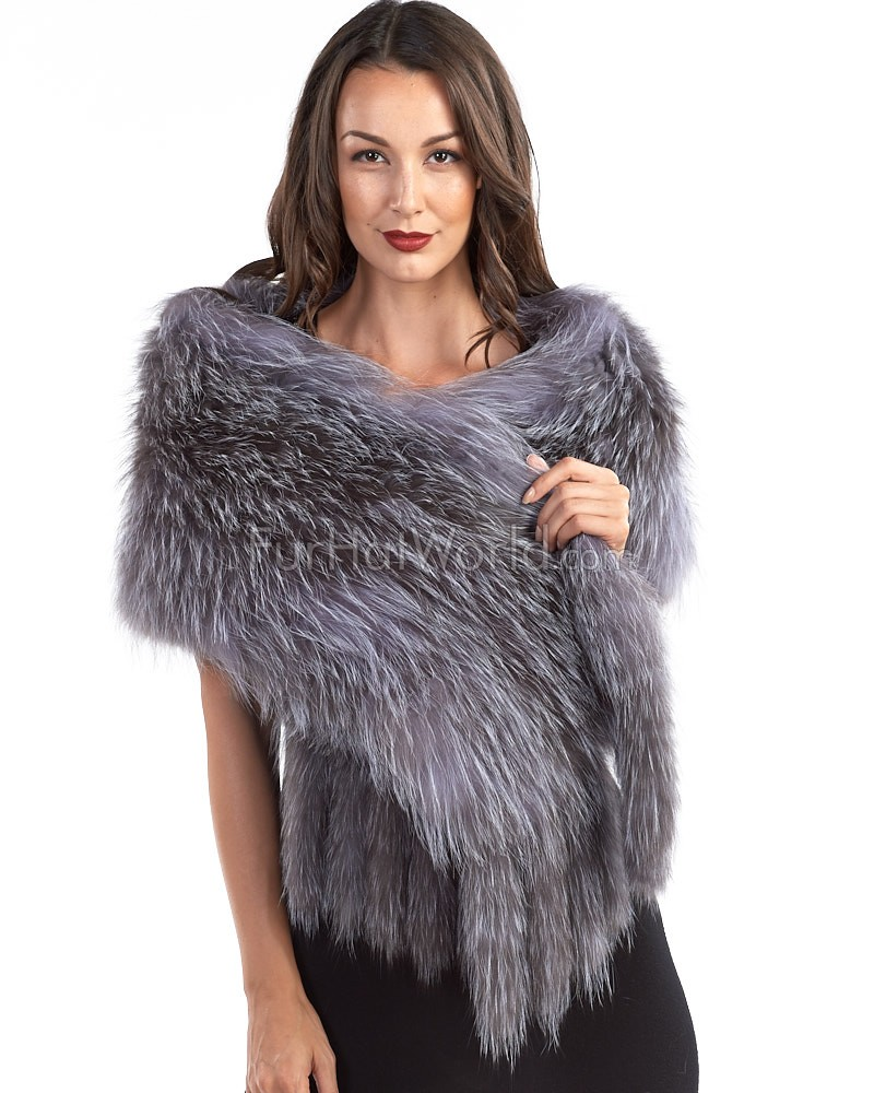 Knit Mia Natural Silver Fox Fur Scarf Shawl
