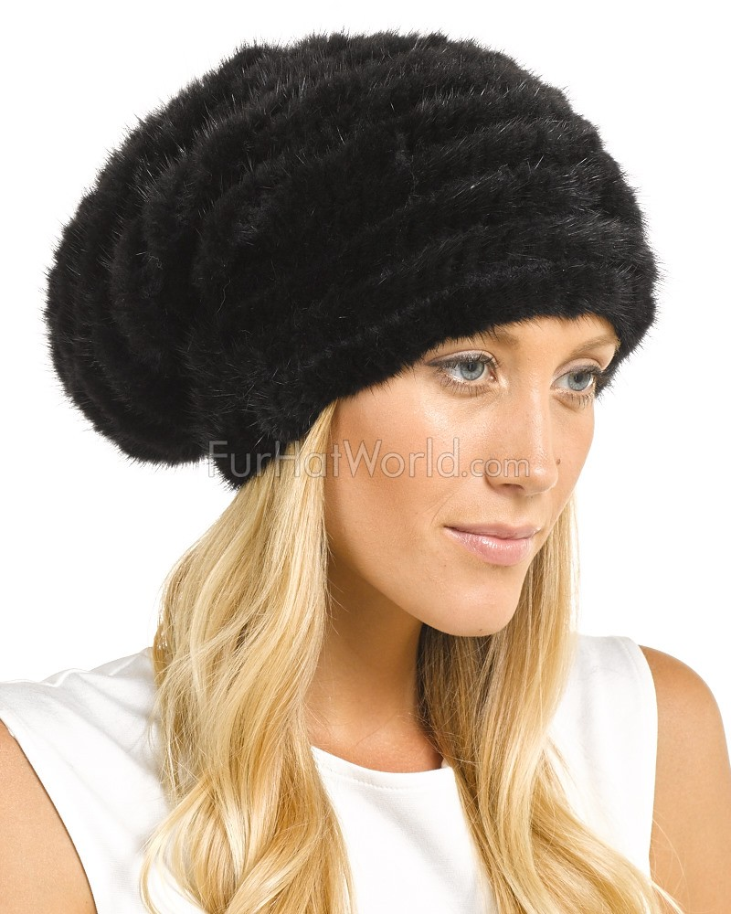 Ellie Knit Mink Beanie Hat with Beads in Black