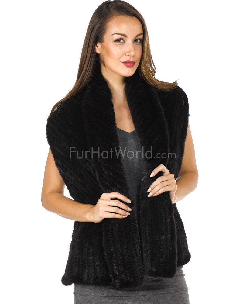 Knit Mink Bell Bottom Shawl - Black