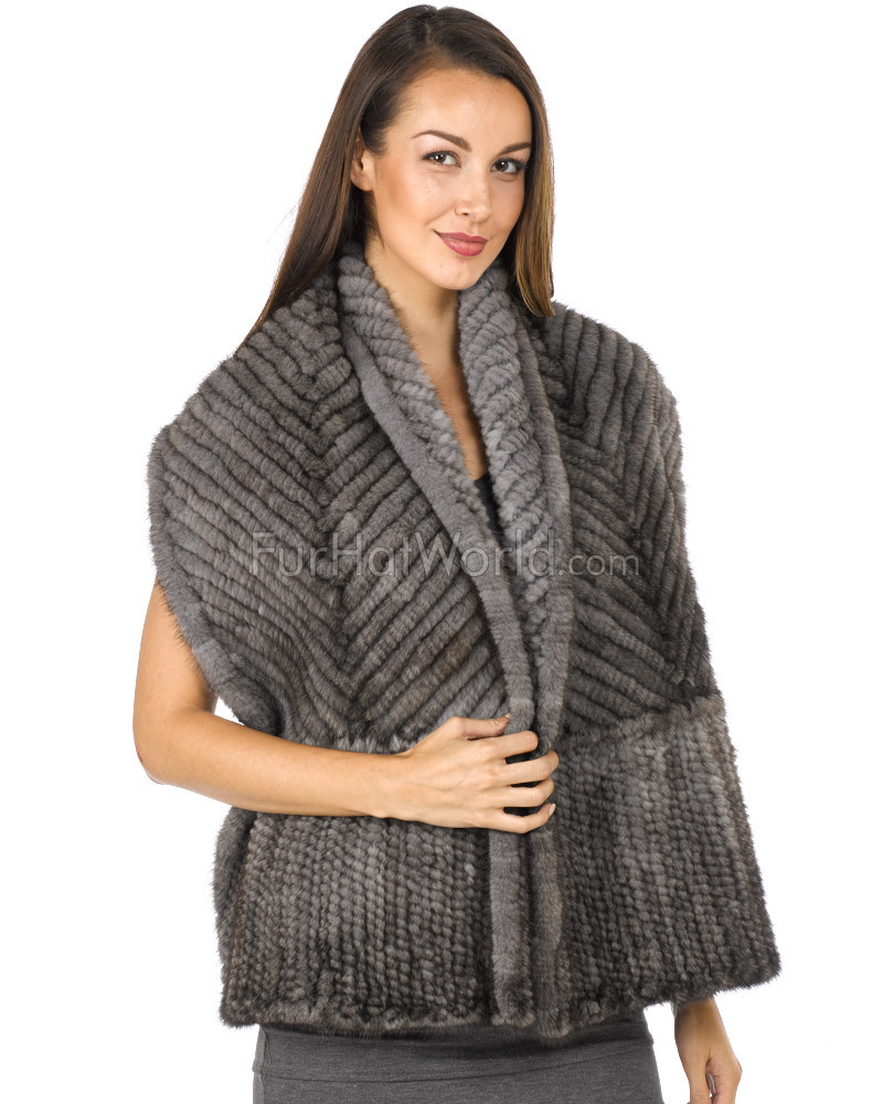 Knit Mink Bell Bottom Shawl - Grey
