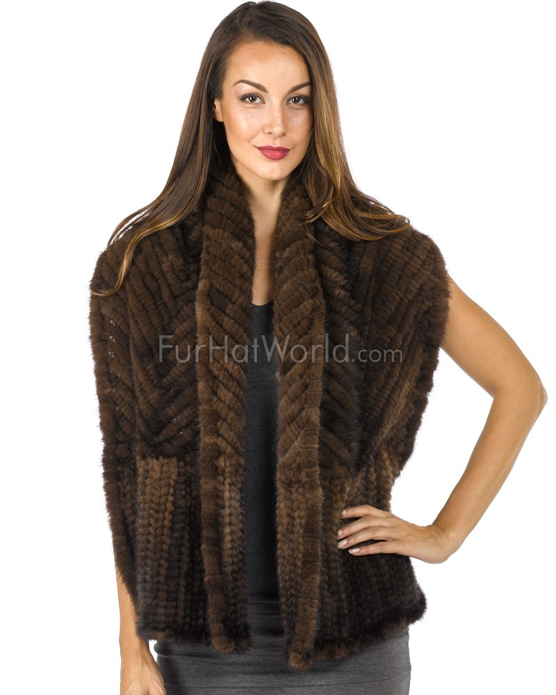 Knit Mink Bell Bottom Shawl - Mahogany