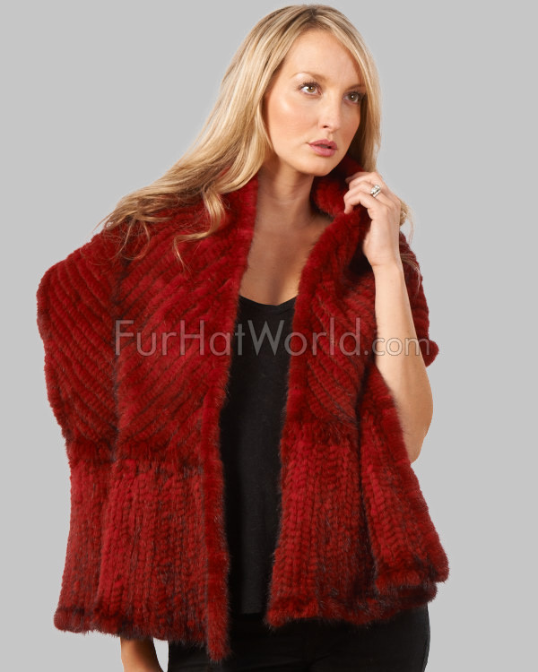 Knit Mink Bell Bottom Shawl - Red