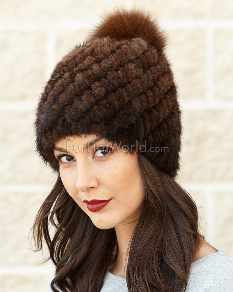 Ciara Knit Mink Beanie Hat with Fox Pom Pom in Brown