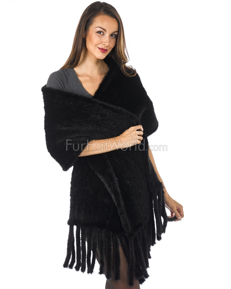 The Heidi Knit Mink Shawl with Fringe