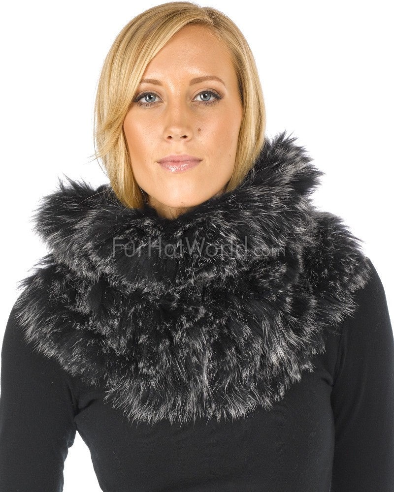 The Zoey Black Frost Knitted Fox Fur Cowl