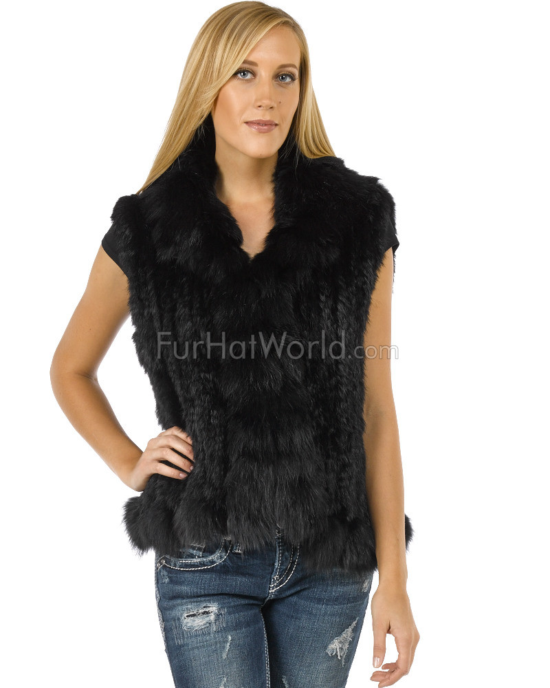 Knit Rabbit Fur Vest with Fox Fur Collar and Trim - Black