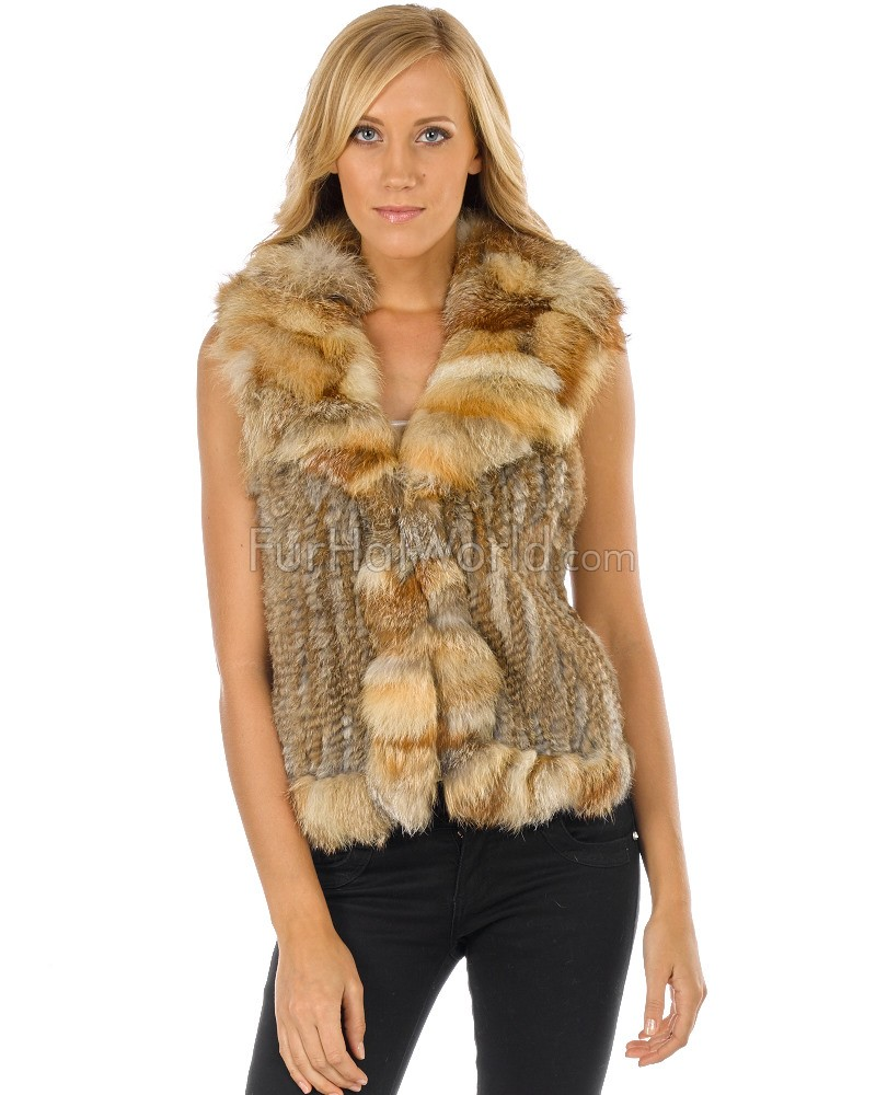 Knit Rabbit Fur Vest with Natural Red Fox Fur Collar and Trim