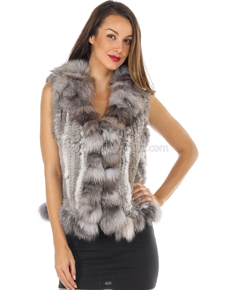 Knit Rabbit Fur Vest with Silver Indigo Fox Fur Collar and Trim