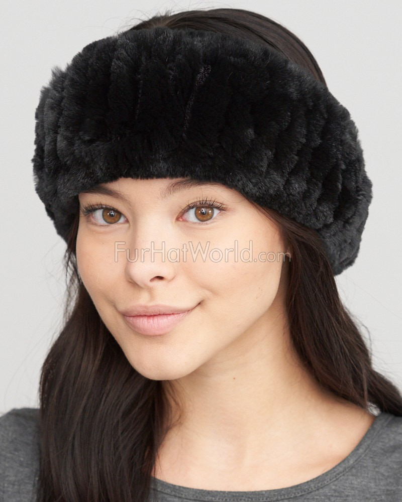 Knit Rex Rabbit Fur Headband in Black