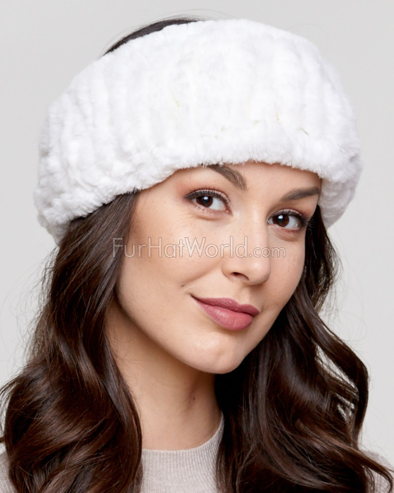 Knit Rex Rabbit Fur Headband in White