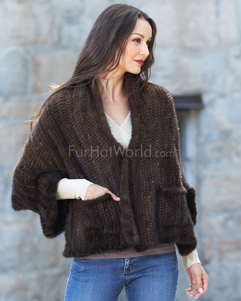 Jasmine Knitted Mink Cape with Pockets in Mahogany