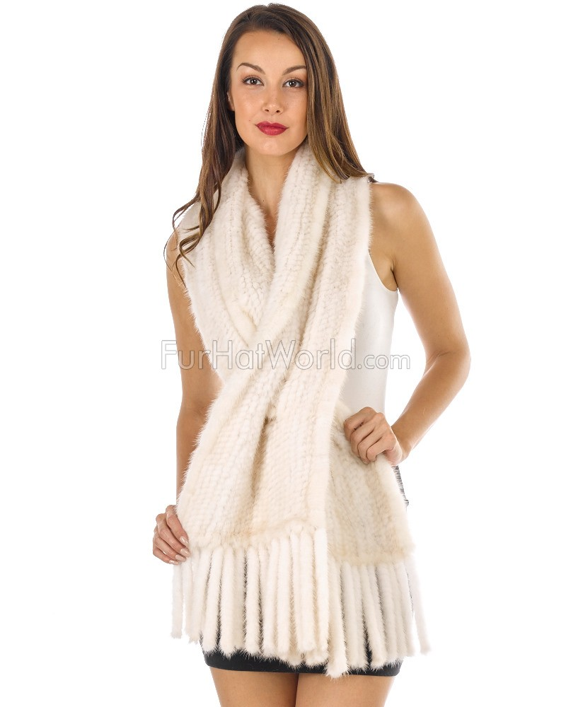 Tessa Knitted Mink Pull Through Fringe Shawl in Pearl