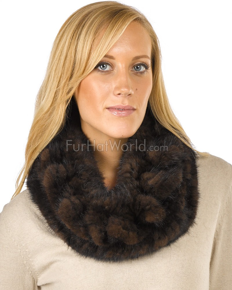 The Nadia Brown Knitted Mink Cowl