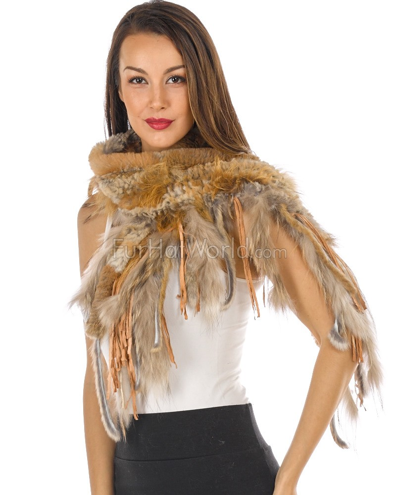 Knitted Rabbit Fur Scarf with Fox Fur - Brown