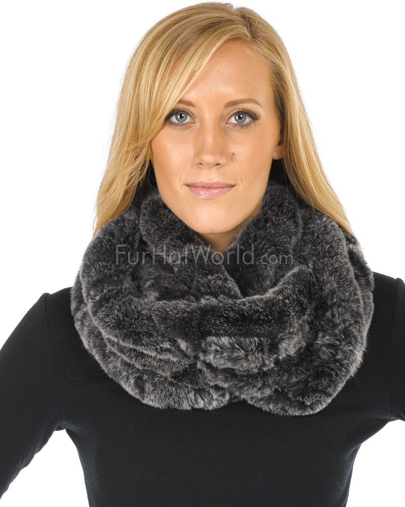 Marie Frosted Black Knitted Rex Rabbit Fur Infinity Scarf