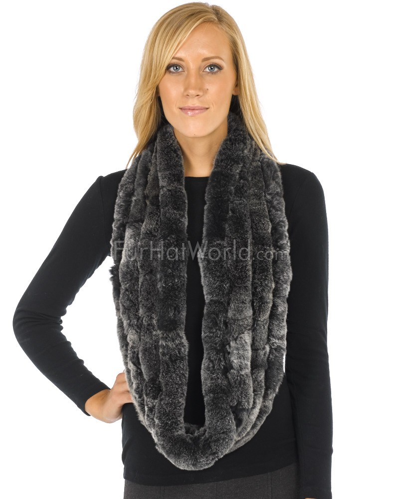 582f2ced1 Marie Frosted Black Knitted Rex Rabbit Fur Infinity Scarf ...