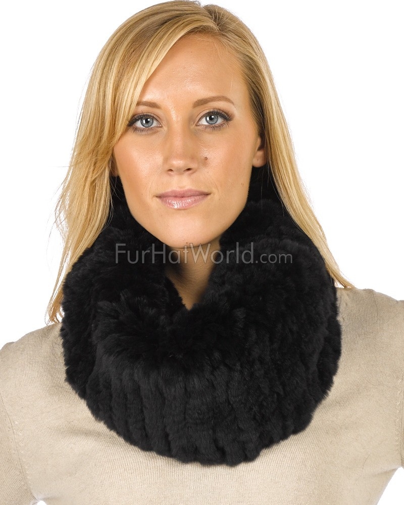 Christine Black Knitted Rex Rabbit Fur Snood Scarf