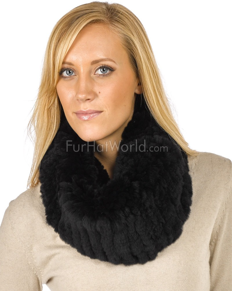 Christine Black Knitted Rex Rabbit Fur Snood Scarf: FurHatWorld.com