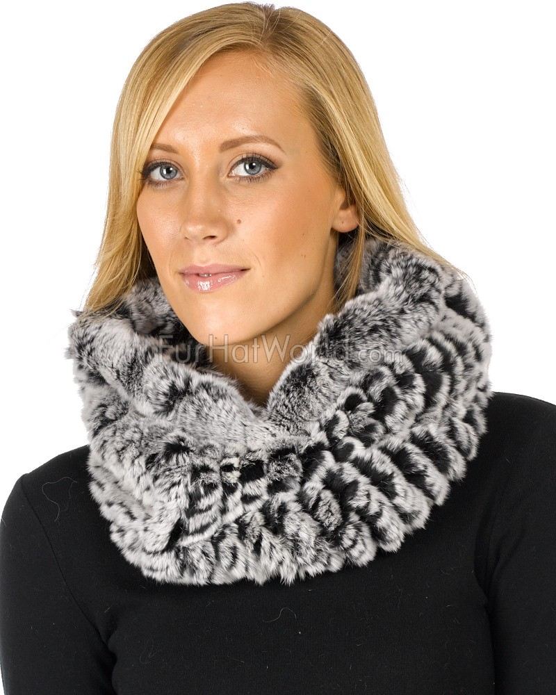 Christine Black Frost Knitted Rex Rabbit Fur Snood Scarf