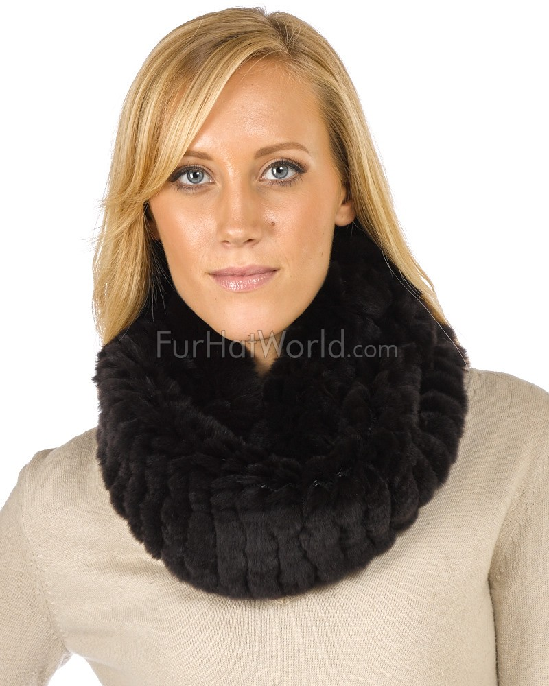 Christine Brown Knitted Rex Rabbit Fur Snood Scarf
