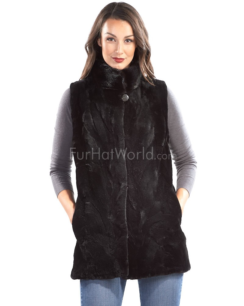 Kora Sectioned Sheared Mink Fur Vest in Black