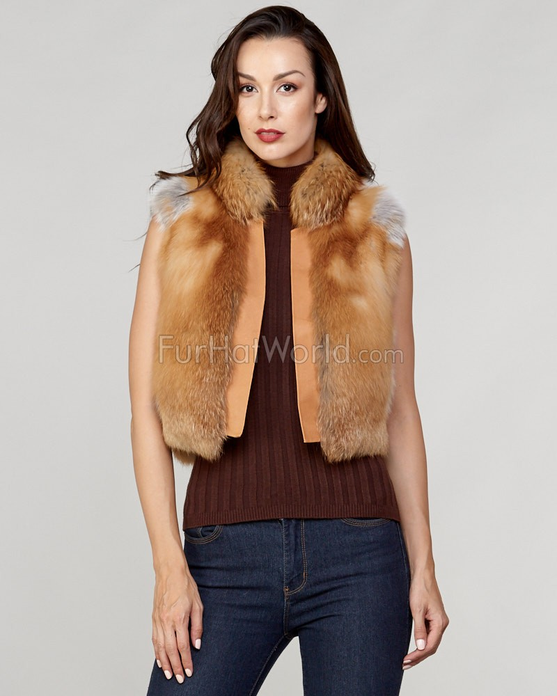 Laila Red Fox Fur Vest with Leather Shawl Lapel