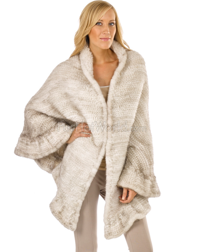 Brianna  Knit Mink Ruffled Wrap in Pearl White