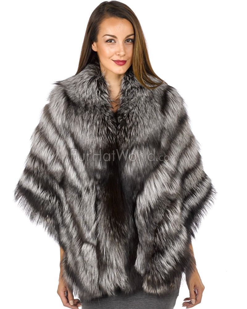 Large Silver Fox Fur Wrap