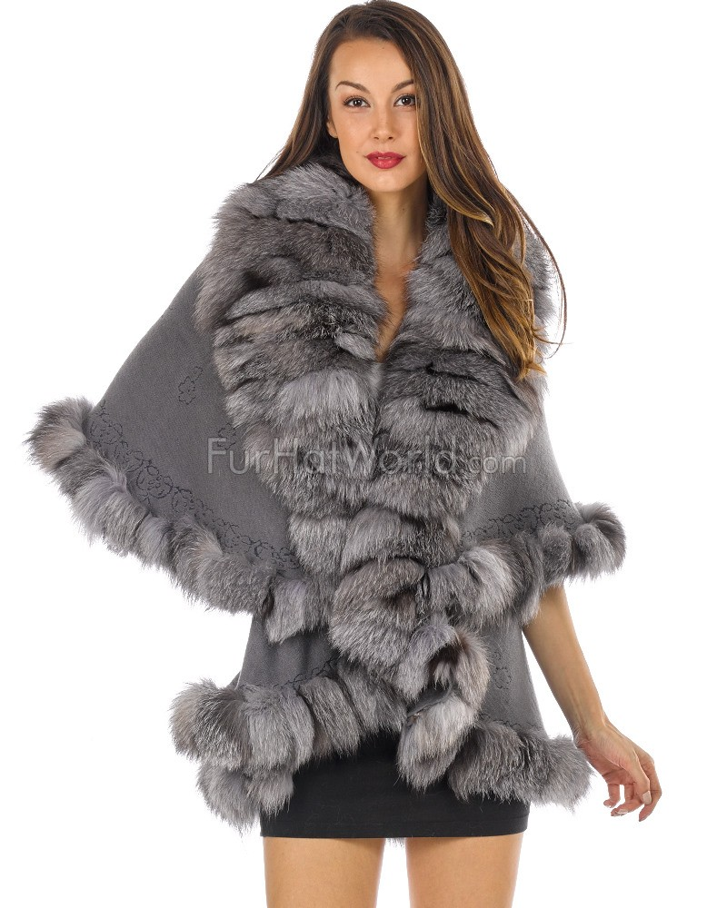 The Gia Layered Silver Fox Fur Trim Cape