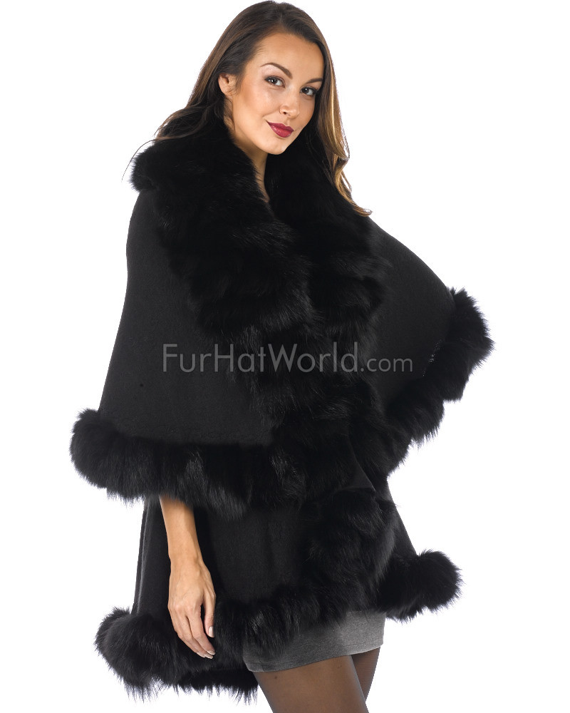 Layered Fox Fur Trim Cape - Black